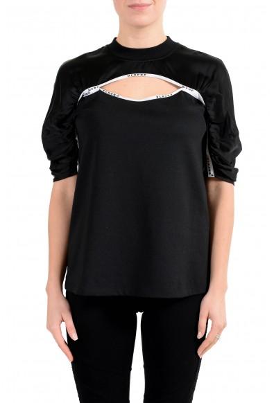 Versus by Versace Women's Black Cut Out 3/4 Sleeve Top