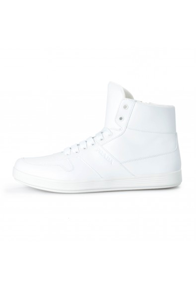 Prada Men's 4T3368 White Leather Hi Top Fashion Sneakers Shoes: Picture 2