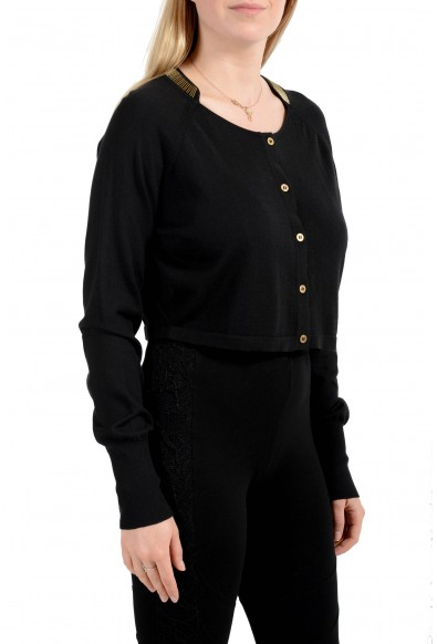 Versace Collection Women's Silk Button Down Cropped Sweater Top: Picture 2