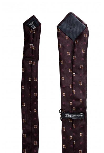 Gianfranco Ferre Men's Deep Purple Logo Print 100% Silk Neck Tie: Picture 2