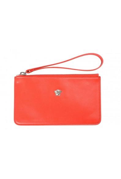 Versace 100% Leather Red Women's Wristlet Wallet Clutch
