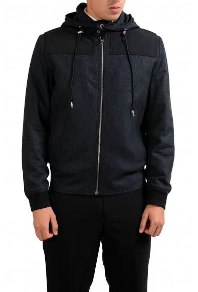 Christian Dior Men's Gray 100% Wool Full Zip Hooded Jacket