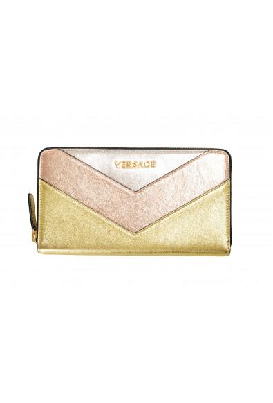 Versace Women's Multi-Color Sparkle Leather Zip Around Wallet