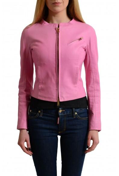 Dsquared2 100% Leather Pink Full Zip Women's Basic Jacket