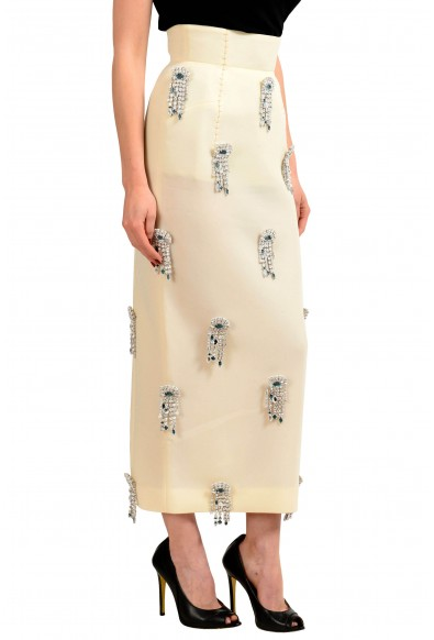 Maison Margiela Cream White Women's Brooches Decorated Pencil Skirt : Picture 2