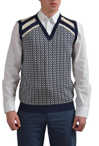Prada Men's Multi-Color Silk V-Neck Sleeveless Vest Sweater