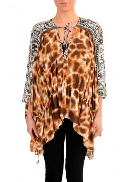Just Cavalli Women's Graphic Designed Silk Tunic Blouse Top