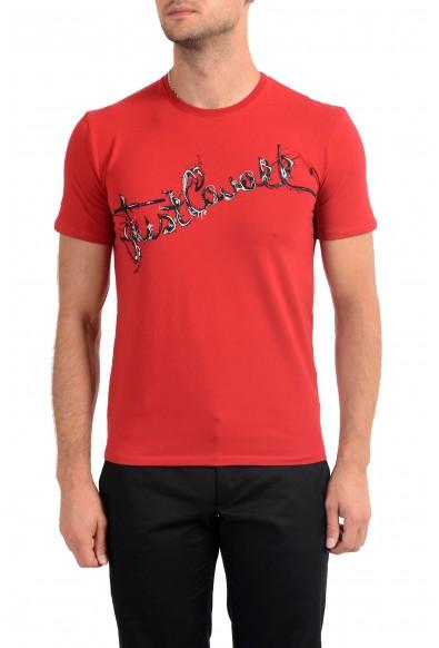 Just Cavalli Men's Red Graphic Print Crewneck Stretch T-Shirt