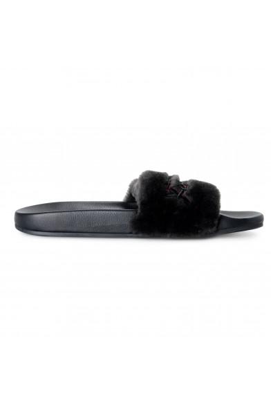 """Salvatore Ferragamo Men's """"Don"""" Black Lamb Fur Leather Flip Flop Sandals Shoes: Picture 2"""
