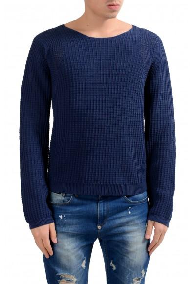 Malo Men's Blue Heavy Knitted Boat Neck Sweater