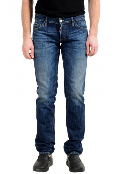 "Dsquared2 Men's ""Slim Jean"" Blue Distressed Jeans"