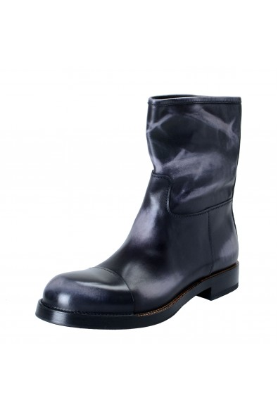 Prada Men's Distressed Gray Leather Motorcycle Boots Shoes