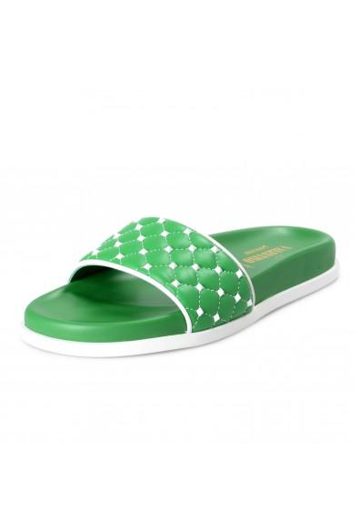 Valentino Women's Green Leather Rockstud Flip Flops Sandals Shoes