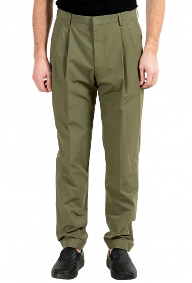 """Hugo Boss """"Orville"""" Men's Green Relaxed Fit Pleated Casual Pants"""