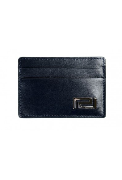 Versace Men's 100% Leather Navy Blue Card Holder