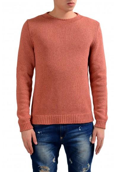 Malo Men's Peach Silk Cashmere Crewneck Heavy Knitted Sweater