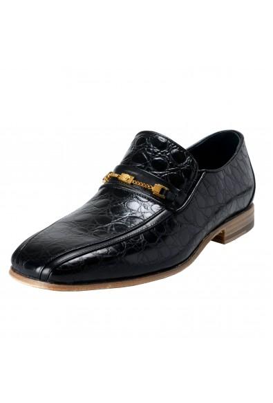 Versace Men's Black Croc Print Leather Loafers Shoes