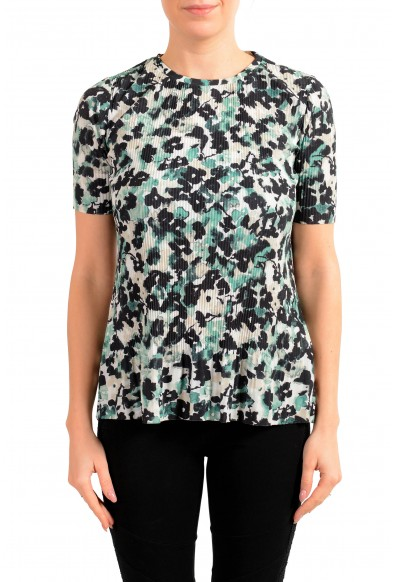 "Hugo Boss Women's ""Etalis"" Multi-Color Stretch Short Sleeve Blouse Top"