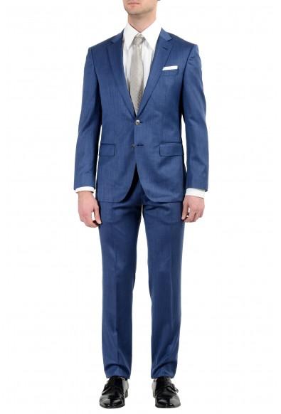 "Hugo Boss ""Hutson5/Gander2"" Men's 100% Wool Slim Blue Two Button Suit"