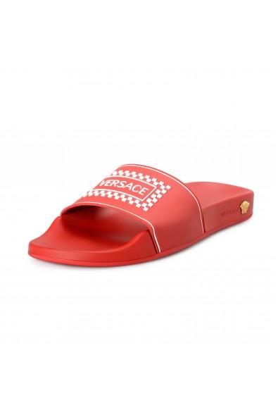 Versace Men's Bright Red Logo Print Rubber Flip Flops Shoes