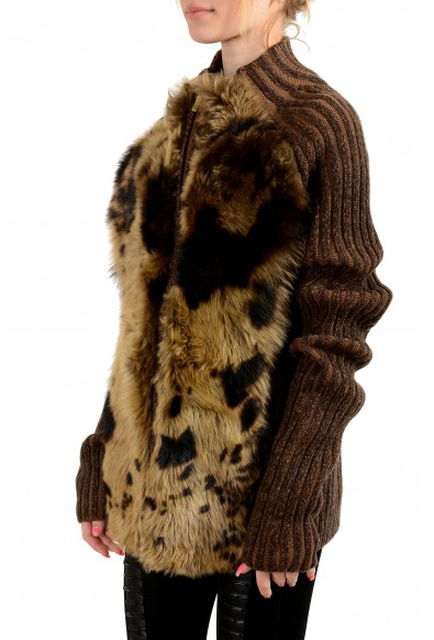 Roberto Cavalli Women's Real Fur Leather 100% Wool Knitted Jacket: Picture 2