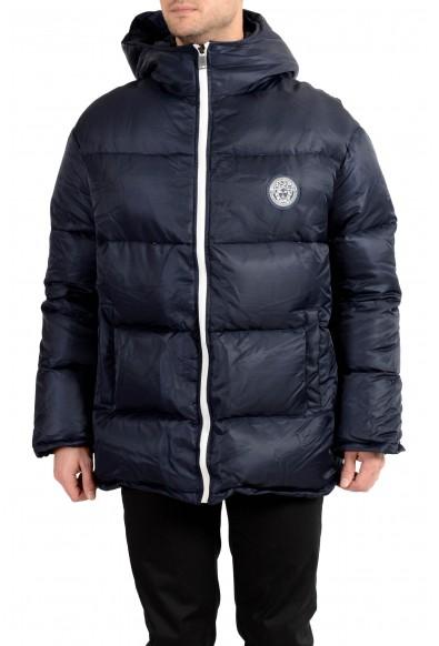 Versace Men's Dark Blue Distressed Hooded Full Zip Parka Jacket