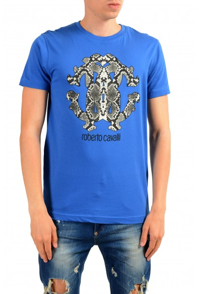 Roberto Cavalli Men's Blue Graphic Print T-Shirt