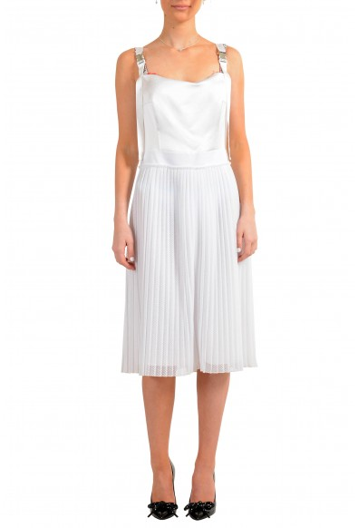 "Hugo Boss Women's ""Kaplissa-1"" White Pleated Sleeveless Sundress Dress"