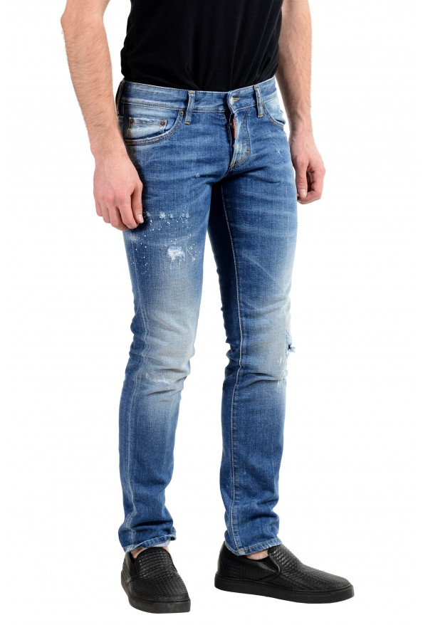 """Dsquared2 """"Slim Jean"""" Men's Blue Stretch Ripped Skinny Jeans : Picture 2"""