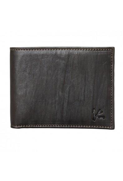 Isaia 100% Leather Dark Brown Men's Bifold Wallet
