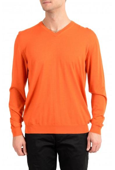 Kiton Napoli Men's Orange V-Neck Silk Cashmere Pullover Sweater