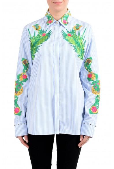 Versace Women's Embroidered Button Down Long Sleeve Shirt
