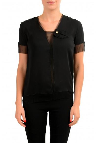 Dsquared2 100% Silk Black Short Sleeve Women's Blouse Top
