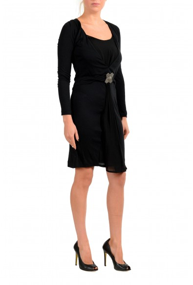 Just Cavalli Women's Black Wool Long Sleeve Mini Dress : Picture 2