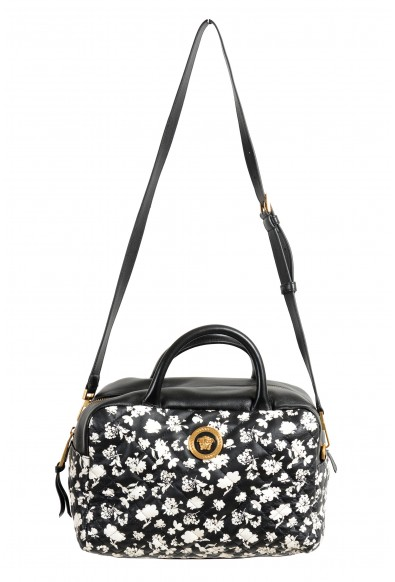 Versace Women's Black Midnight Bloom Large Quilted Leather Shoulder Bag