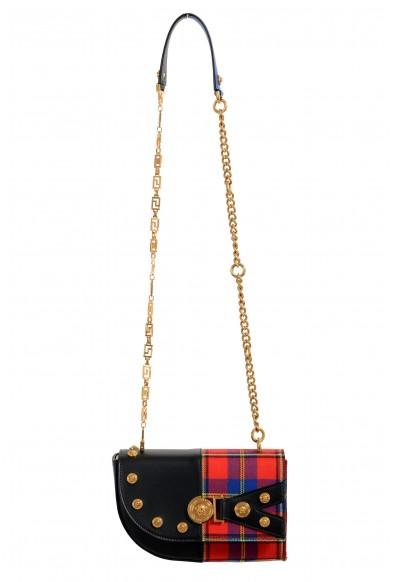 Versace Women's Leather & Canvas Multi-Color Tartan Print Shoulder Bag