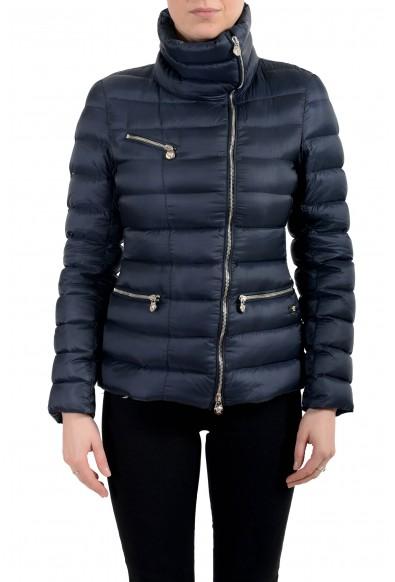 Versace Women's Blue Down Zip Up Bomber Parka Jacket