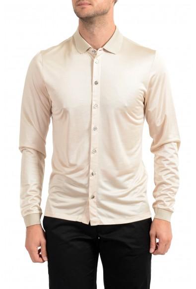 Malo Men's 100% Silk Beige Long Sleeve Casual Shirt