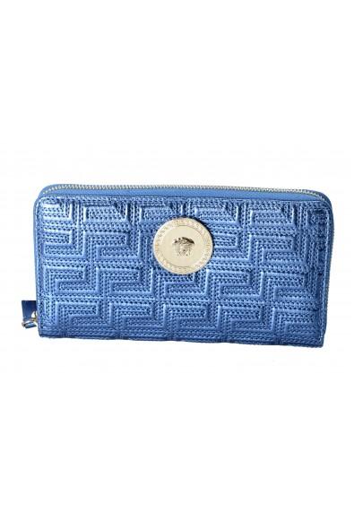 Versace Women's Sparkle Blue 100% Leather Medusa Embellished Zip Around Wallet