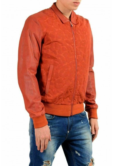 Just Cavalli Men's Leather Brick Red Full Zip Bomber Jacket: Picture 2