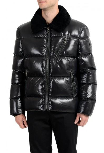 Roberto Cavalli Men's Fur Duck Down Black Full Zip Parka Jacket