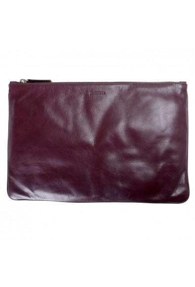 Jil Sander 100% Leather Burgundy Women's Clutch Bag