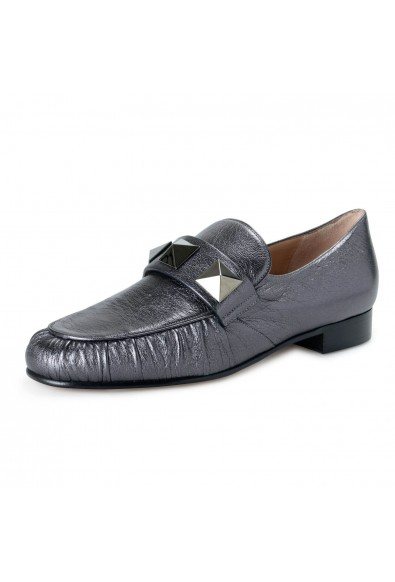 Valentino Garavani Women's Silver Gray Leather Loafers Flats Shoes