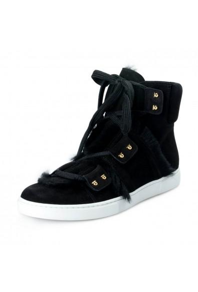 "Salvatore Ferragamo Women's Black ""SOLDA"" Suede Fur Sneakers Boots Shoes"