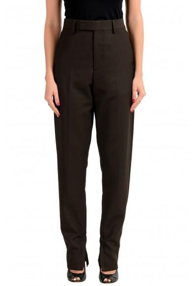 "Hugo Boss Women's ""STAR1_FS Dark Brown 100% Wool Casual Pants"
