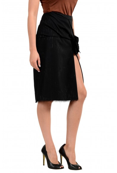 Versace Women's Black Wool Striped Pencil Skirt: Picture 2