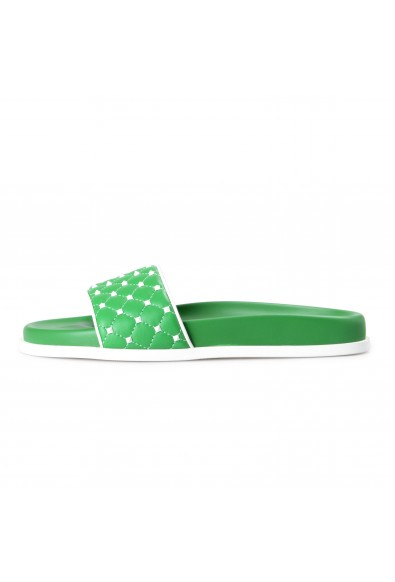 Valentino Women's Green Leather Rockstud Flip Flops Sandals Shoes: Picture 2