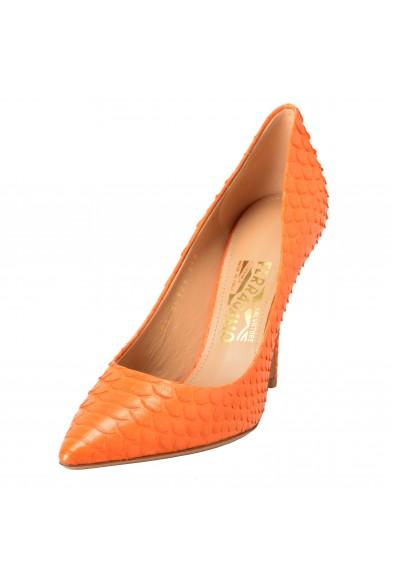 Salvatore Ferragamo Susi 100 Women's Python Skin Orange High Heels Pumps Shoes