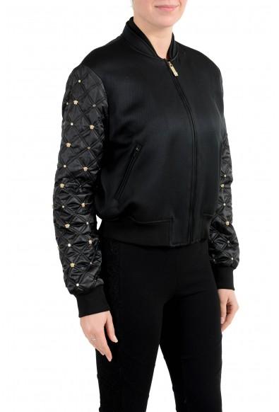 Versace Women's Black Studded Full Zip Bomber Jacket : Picture 2