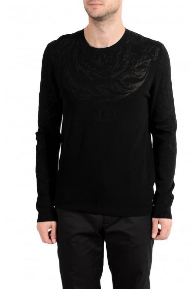 Versace Collection Men's Designed Black Crewneck Sweater